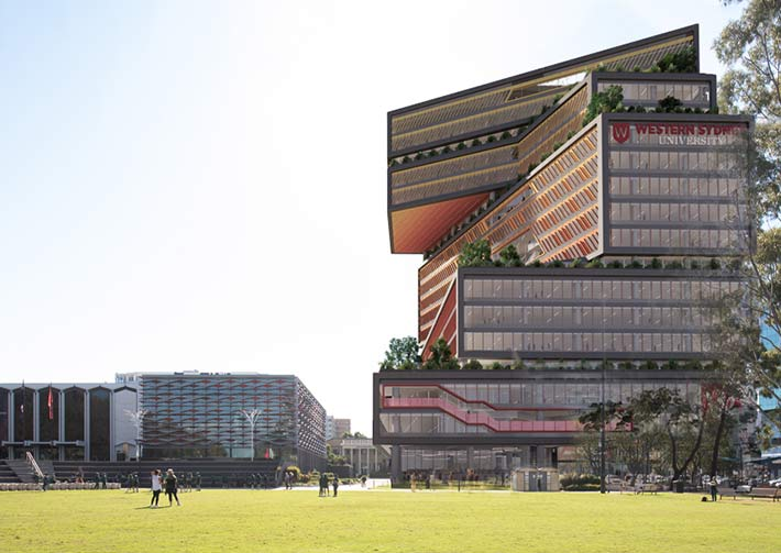 An artist's impression of the proposed Western Sydney University's high-rise campus building.