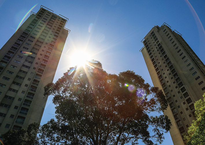 Waterloo estate towers in Redfern, Sydney CBD NSW.. Photo by: NSW Department of Planning, Industry and Environment / Salty Dingo
