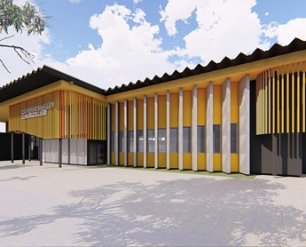 Computer generated image of school buildings.
