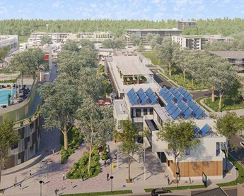 view from an angle of Western Sydney Aerotropolis, an artist impression of mixed use.