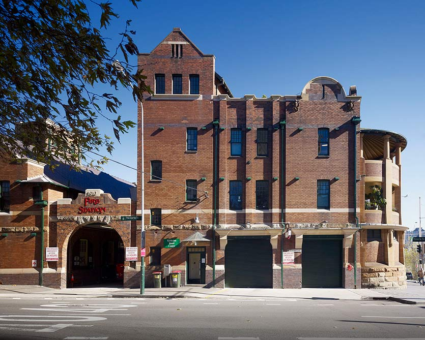 The exterior stonework and brick work of Darlinghurst Fire Station