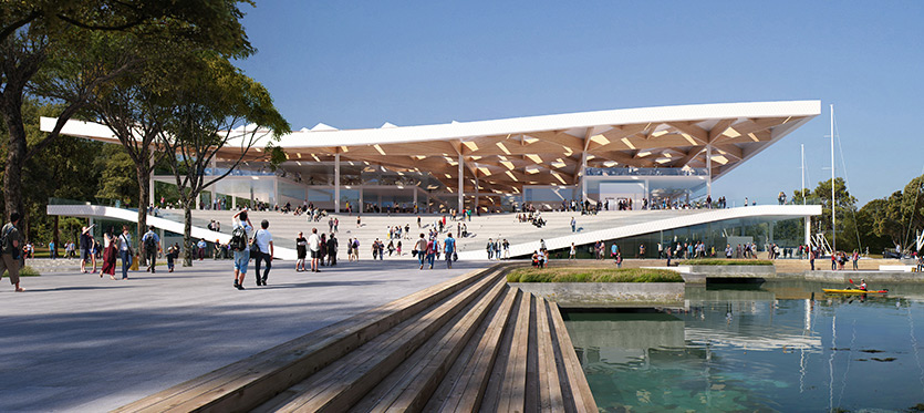 Artist impression of east entrance of the new Sydney Fish Market.
