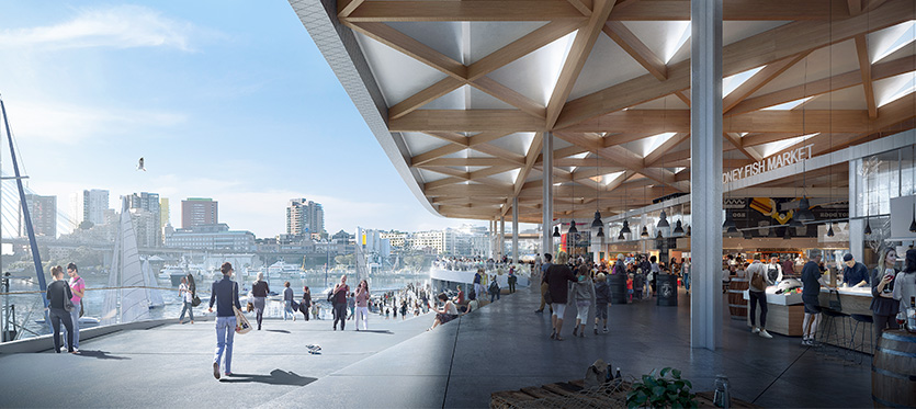 Artist impression of promenade of the new Sydney Fish Market.