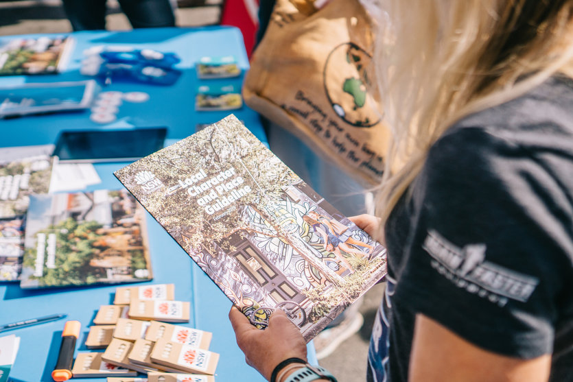 Pictured is a Blue Mountains local reading the Local Character Overlays Discussion Paper at Springwood Foundation Day Festival on 27 April 2019.