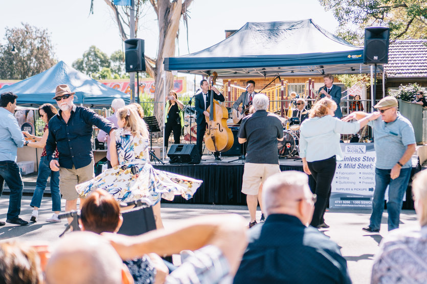 Pictured are locals dancing at the Springwood Foundation Day Festival on 27 April 2019.