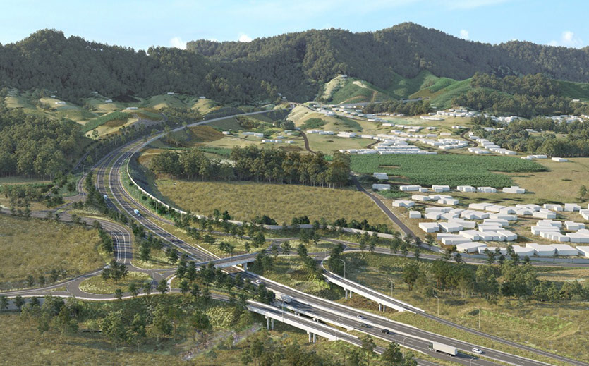 Artist Impression of proposed Coramba Road interchange (Coffs Harbour Bypass). Image source: Roads and Maritime Services.