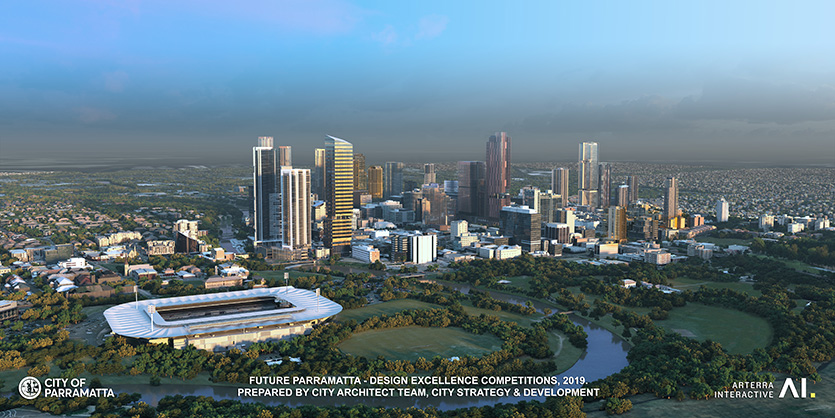 Future Parramatta Aerial view of stadium - Design excellence competition, 2019. Image prepared y City Architect team, City Strategy & Development.