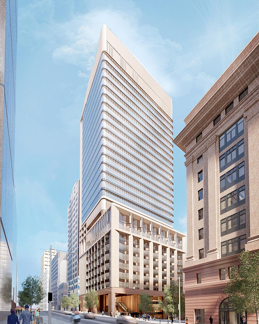 Artist impression of the proposed Martin Place tower North facade from Elizabeth Street. Source: Macquarie Group.