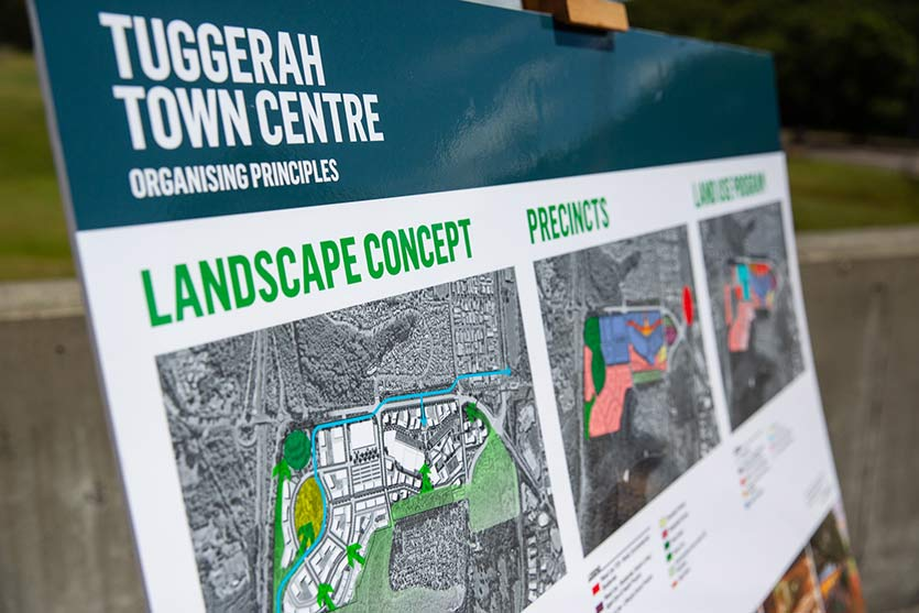 SIgn announcing Proposal for $2.8b Tuggerah Town Centre Development