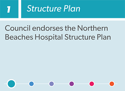 Infographic: The Priority Precinct Process 1  Structure Plan: Council endorses the Northern Beaches Hospital Structure Plan