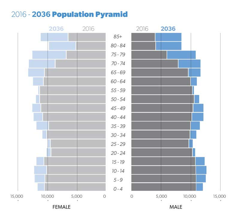 Pyramid showing population change in Hunter from 2016 to 2036