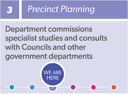 Infographic: 3 Precinct Planning - Department commissions specialist studies and consults with the community, stakeholders and landowners