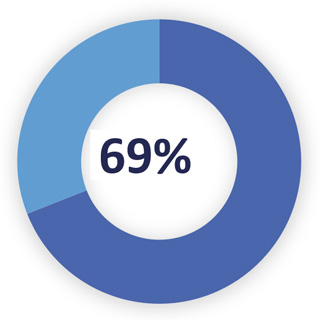 CIV approved pie chart Q3 2019-20 of 69%