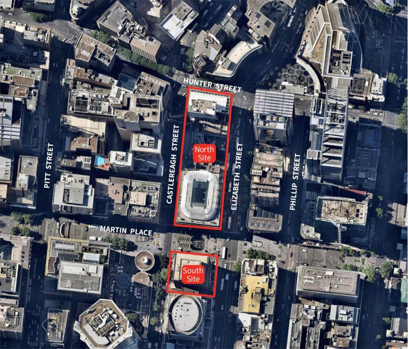 Martin Place South Over Station Development map