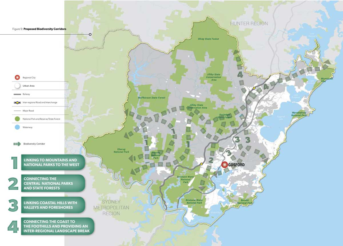 Map of proposed biodiversity corridors in Central Coast region