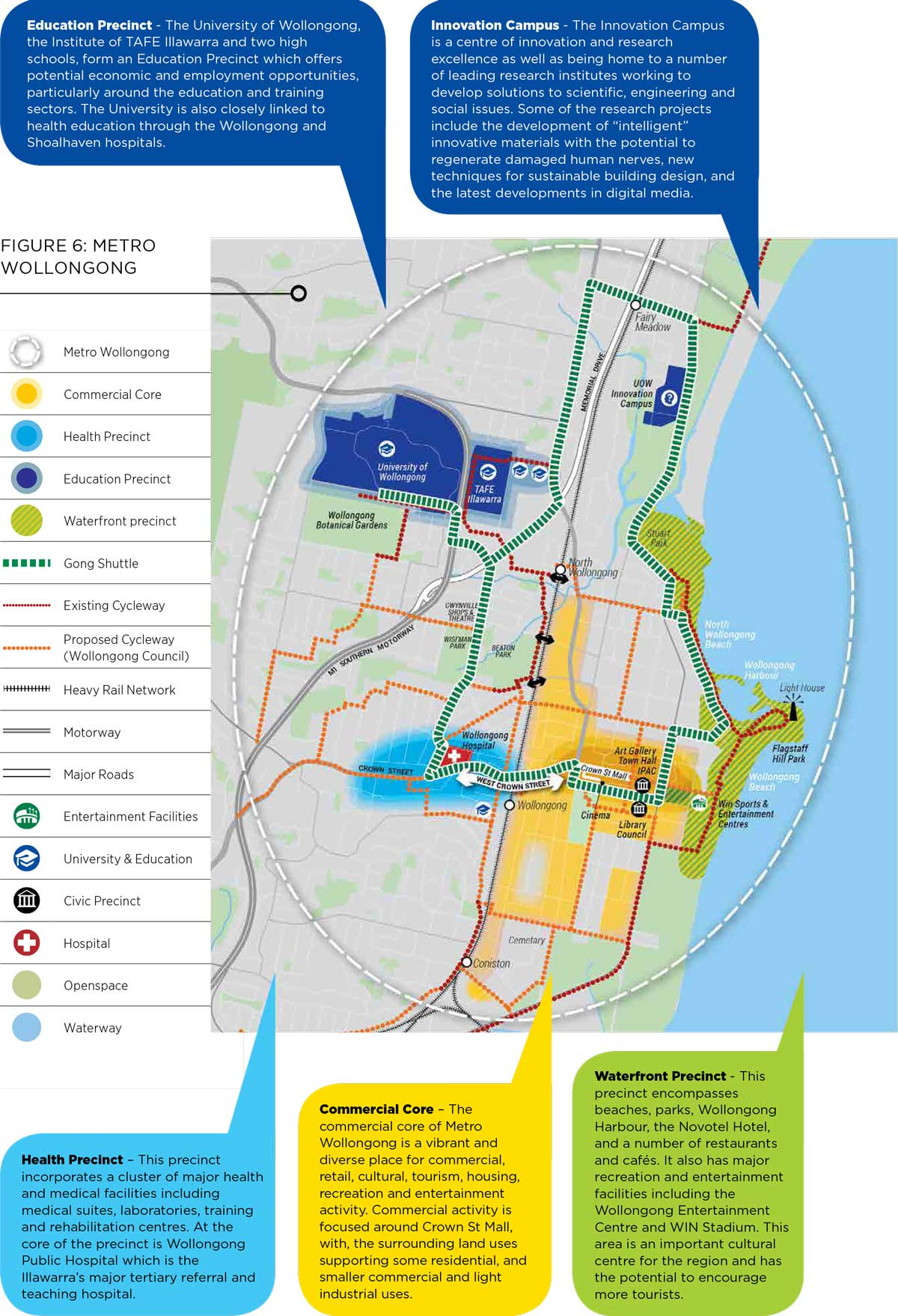Map of metropolitan Wollongong with descriptions of the health, education and waterfront precincts, and commercial core and Innovation Campus