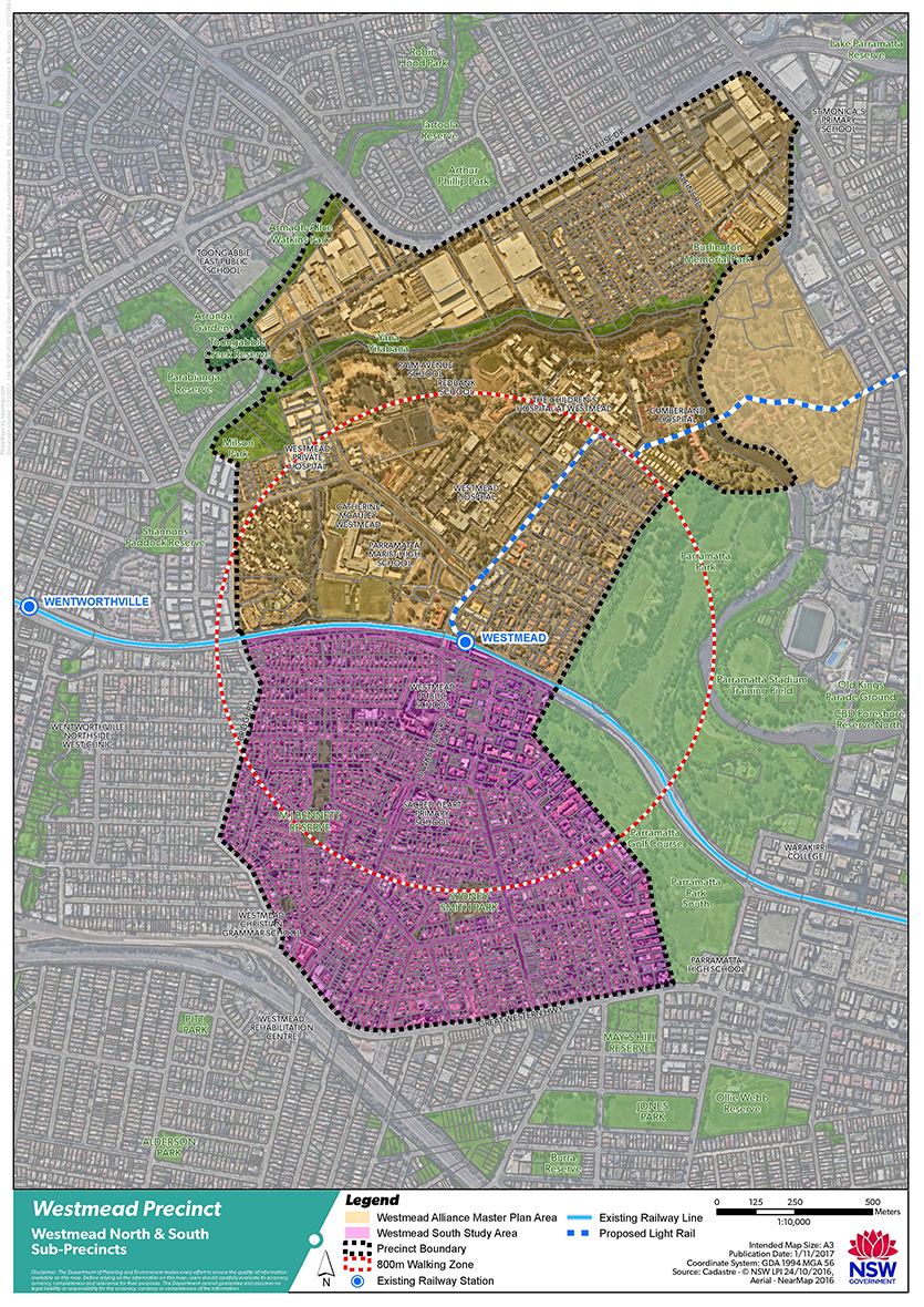 Aerial map of Westmead Priority Precinct