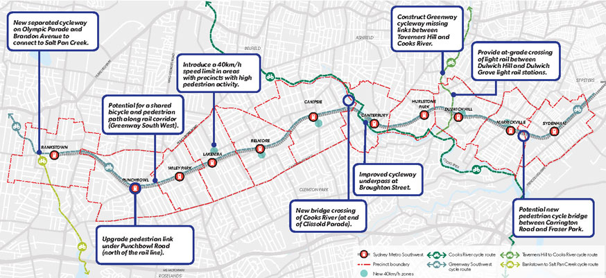Sydenham to Bankstown map on walking and cycling
