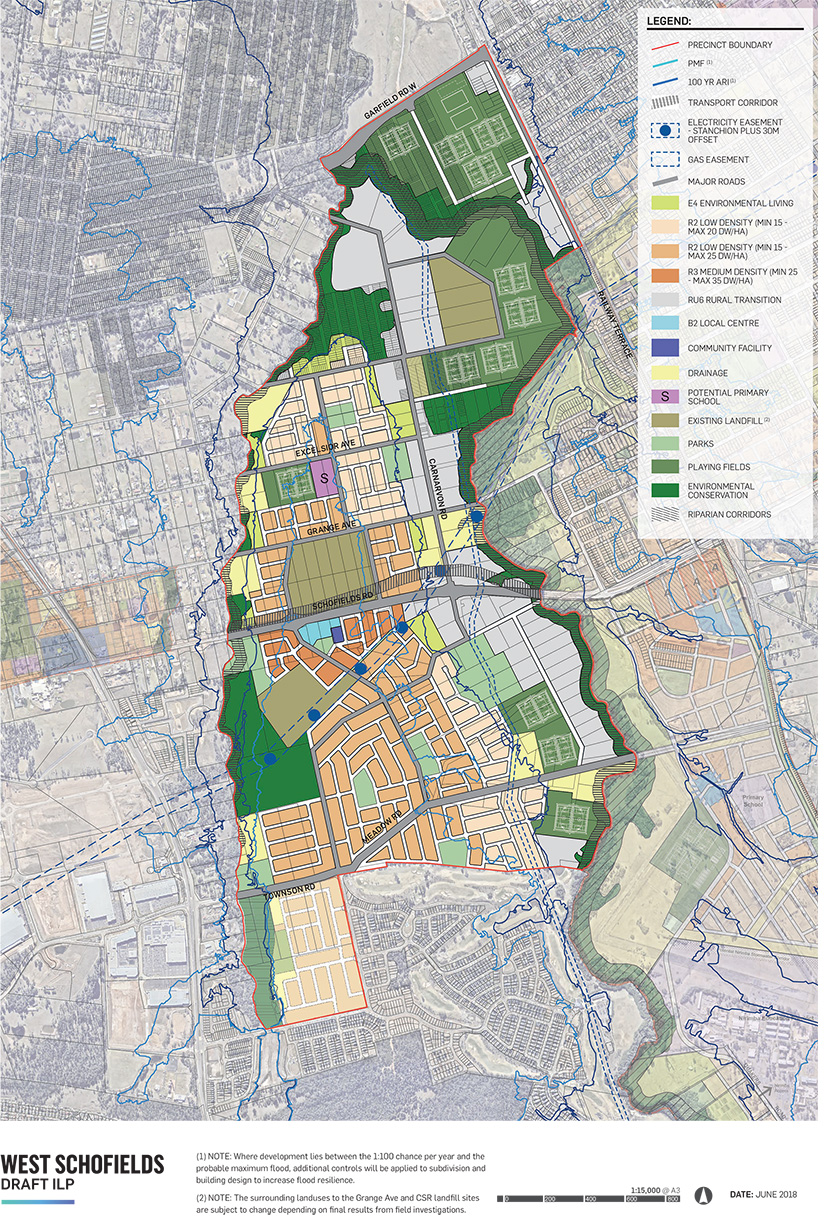 West Schofields Draft Indicative Layout Plan map