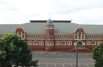 A view of the Royal Hall of Industries building in Moore Park, Sydney with trees obscuring the view.