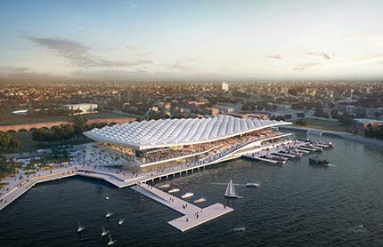 Aerial image of the Sydney Fish Markets (artists impression).