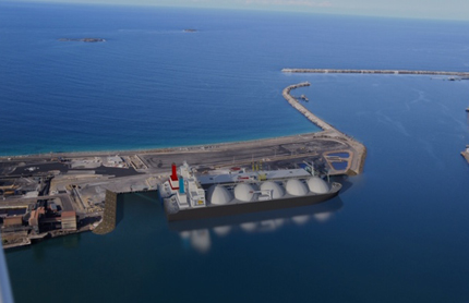 Aerial view of Port Kembla gas terminal