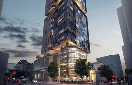Artist impression of tower on corner of Great Western Hwy and Church St, Parramatta.