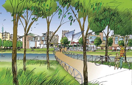 An artist's impression of a bridge extending through trees and over a wetland, with buildings in the distance.