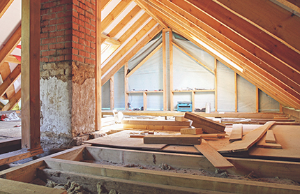 Interior of home being built