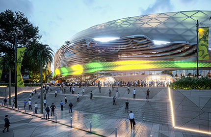 Artist impression of the main entry for the proposed stadium design. Image source: Infrastructure NSW.