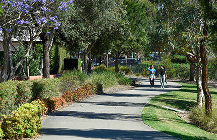 Locals walking in park area at Salt Pan Creek reserve in Riverwood, South Sydney NSW. Photo by: DPIE