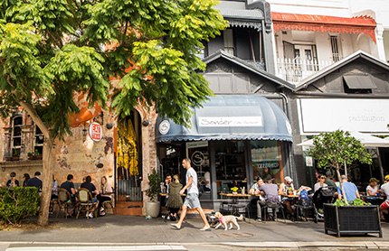 Cafe and restaurants at Five Ways, Paddington. Photo by Destination NSW