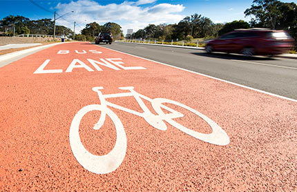 Bike and bus lane marked on Central Coast highway