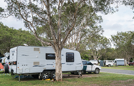 Caravans at Diamond Head Campground, at Crowdy Bay National Park near Taree, NSW.