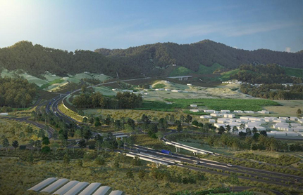 Artist impression of Coffs Harbour Bypass proposed Coramba Road interchange. Image source: Roads and Maritime Services.