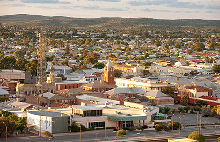 Aerial view of Broken Hill town