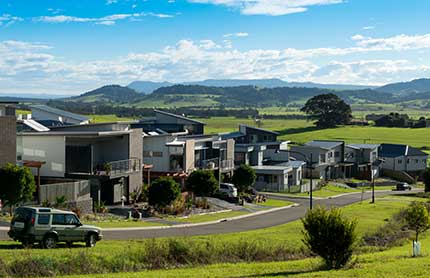 Gerringong's Elambra Housing Estate surrounded by farmland and hills