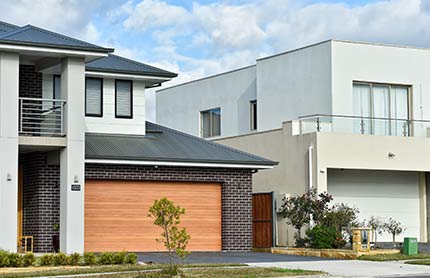 A completed house in a suburban street in a complying development neighbourhood. Photo by: NSW Department of Planning, Industry and Environment / Salty Dingo