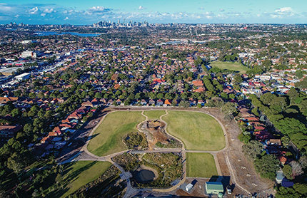 Panoramic view of Wangal Park, Croydon, Sydney.